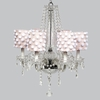 Glass 6 Light Middleton Chandelier With Pink Drum Shades And White Pom Poms