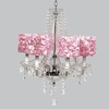Glass 6 Light Middleton Chandelier With Pink Rose Garden Drum Shades