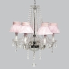 Glass 6 Light Middleton Chandelier With Pink Ruffled Sheer Skirt Shades