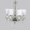 Glass 6 Light Middleton Chandelier With White Pom Pom Drum Shades