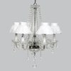 Glass 6 Light Middleton Chandelier With White Ruffled Sheer Skirt Shades