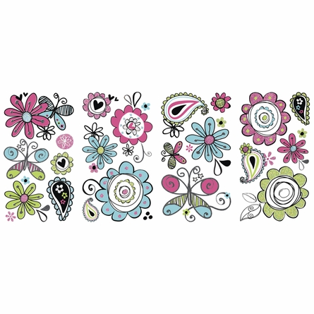 Glitter Doodlerific Floral Wall Decals
