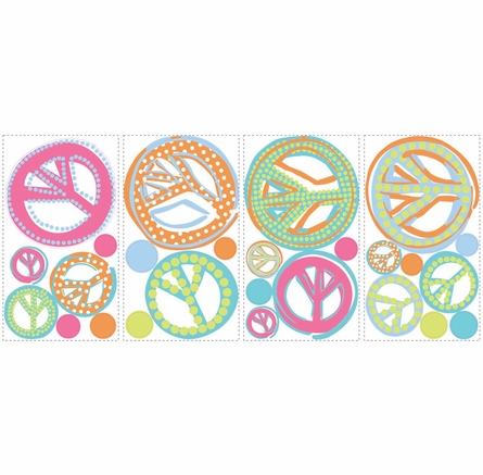 Glitter Peace Signs Peel & Stick Wall Decals