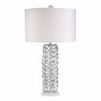 Gloss White Metal Ribbon Table Lamp With White Shade