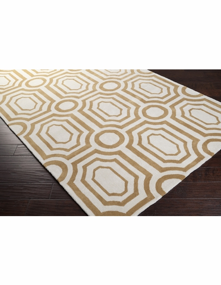 Gold and White Geometric Hudson Park Rug