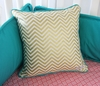Gold Chevron Square Throw Pillow