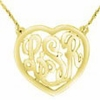 Gold Heart Monogram Necklace - Script
