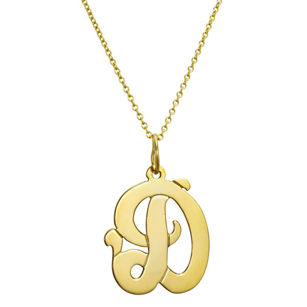 gold monogram initial necklace script rosenberryrooms