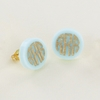 Gold Post Seafoam Acrylic Monogram Earrings