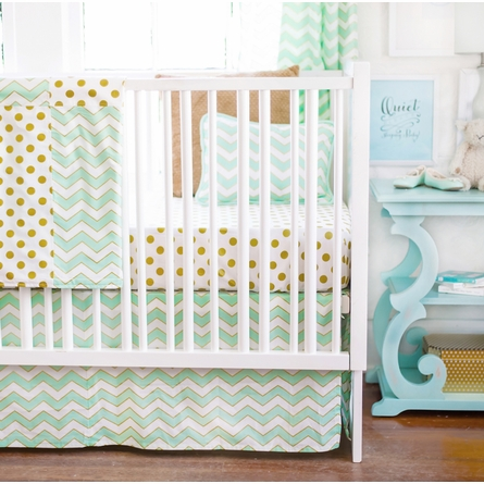 Gold Rush Mist Crib Skirt
