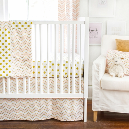 Gold Rush Pink Crib Skirt
