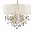 Gold Steel Chandelier with Hand Polished Crystals