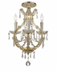 Gold Steel Mini Chandelier with Hand Polished Crystals