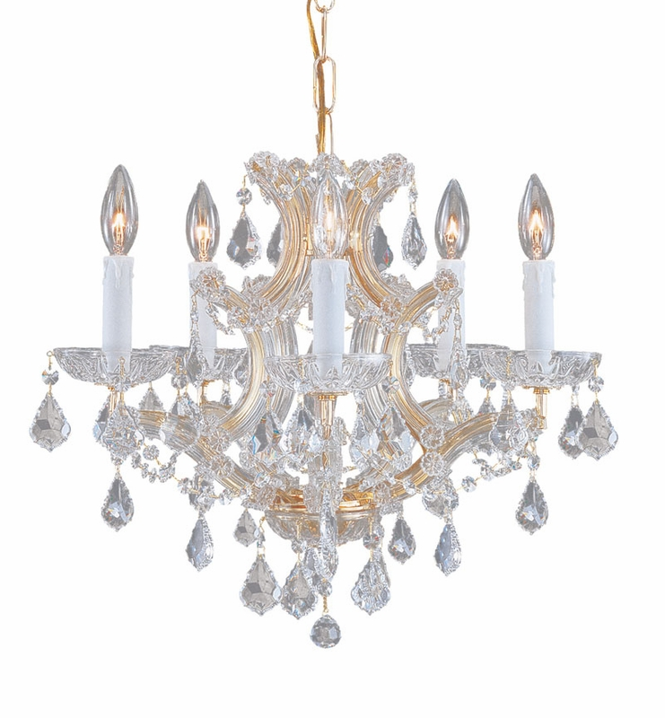 Gold Steel Small Chandelier with Hand Polished Crystals by