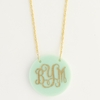 Gold-Tone and Seafoam Round Acrylic Monogram Necklace