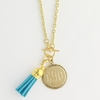 Gold-Tone Toggle Monogram Pendant Necklace with Tassel