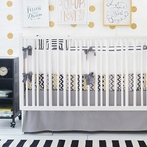Golden Days in Gray Crib Bedding Set
