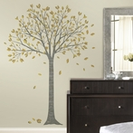 Golden Leaf Tree Wall Decals
