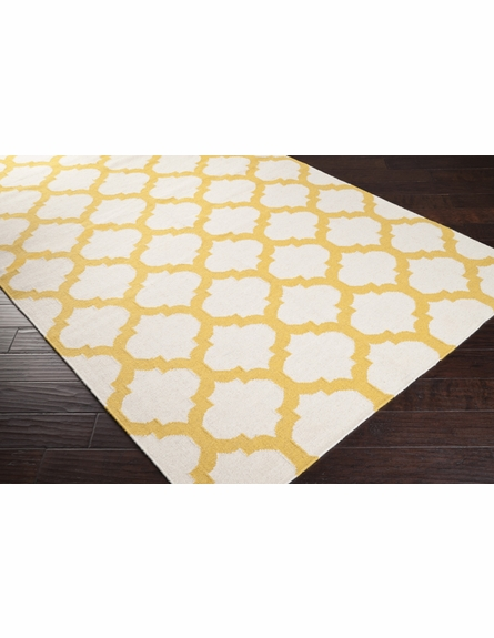 Golden Yellow and White Trellis Frontier Rug