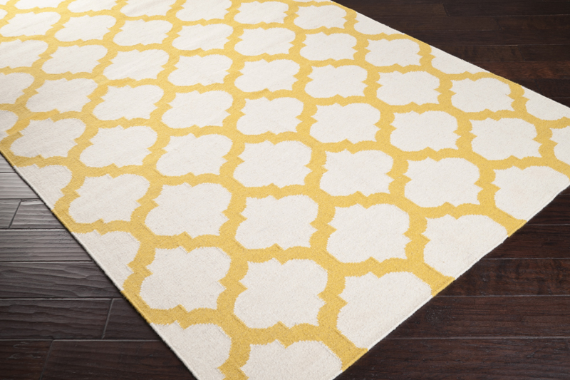 Golden Yellow And White Trellis Frontier Rug By Surya