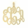 Goldtone Large Monogram Pendant