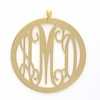 24k Gold-Plated Large Round Rimmed Monogram Pendant