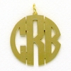 Goldtone Medium Circle Monogram Pendant