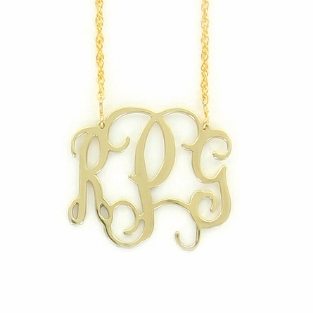 Goldtone Medium Filigree Monogram Necklace