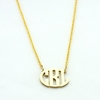 24k Gold-Plated Petite Circle Monogram Necklace