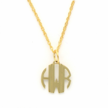 24k Gold-Plated Petite Circle Monogram Pendant
