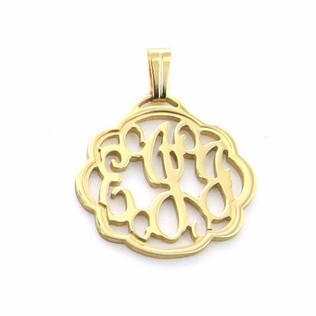 24k Gold-Plated Petite Flourish Monogram Pendant