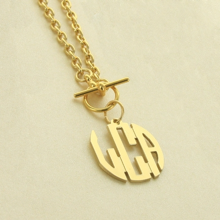 Goldtone Small Circle Monogram Pendant