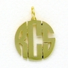 24k Gold-Plated Small Circle Monogram Pendant