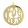 24k Gold-Plated Small Round Rimmed Monogram Pendant