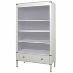 Gramercy Bookcase in Snow and Dior Grey with Nickel Hardware