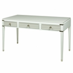 Gramercy Console Desk in Snow and Dior Grey with Polished Nickel Hardware