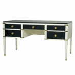 Gramercy Desk in Line and Navy with Polished Brass Hardware
