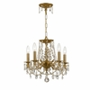 Gramercy Five Light Clear Crystal Brass Mini Chandelier II