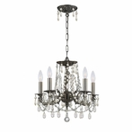 Gramercy Five Light Clear Crystal Pewter Mini Chandelier II
