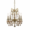 Gramercy Five Light Golden Teak Crystal Brass Mini Chandelier I