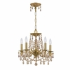 Gramercy Five Light Golden Teak Crystal Brass Mini Chandelier II