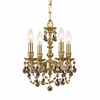 Gramercy Four Light Golden Teak Crystal Brass Mini Chandelier I