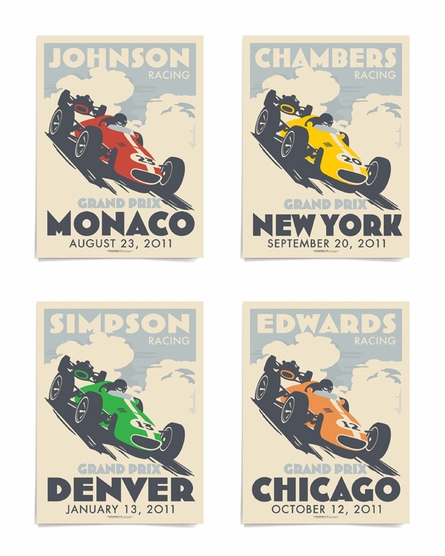 Grand Prix Custom Framed Art Print
