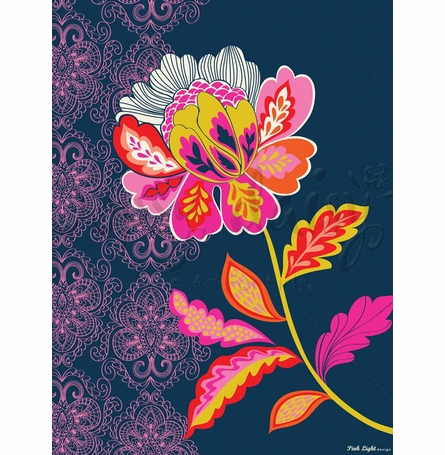 Graphic Flower on Navy Canvas Wall Art