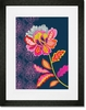Graphic Flower on Navy Framed Art Print