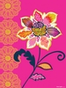 Graphic Flower on Pink Canvas Wall Art