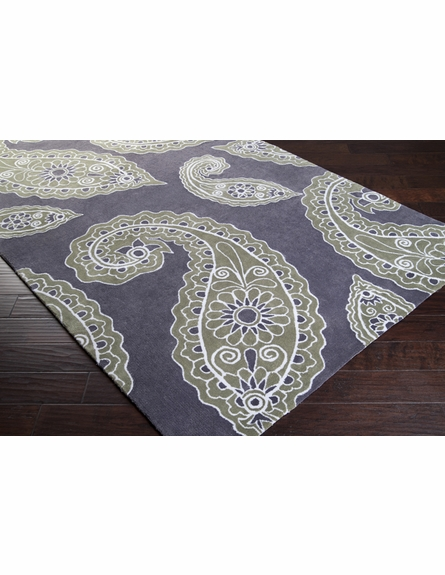Gray and Green Paisley Hudson Park Rug