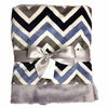 Gray and Navy Chevron Baby Blanket