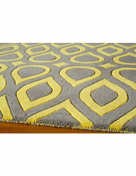 Gray and Yellow Geometric Delhi Rug