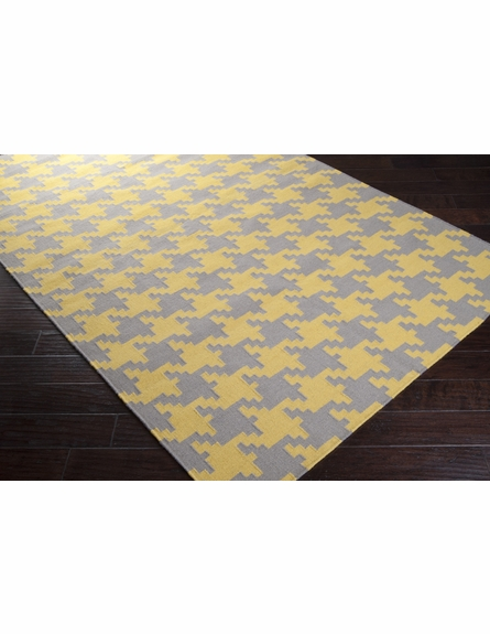 Gray and Yellow Houndstooth Frontier Rug